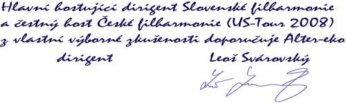 Doporučení pana dirigenta Svárovského